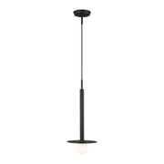 Midnight black modern dining room pendant with an industrial look.