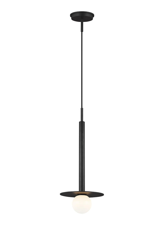 Manila Pendant. Modern linear pendant with a circular shield and bulb in a midnight black finish.