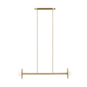 Manila Linear Chandelier Small with a burnished brass finish and two opposing bulbs.