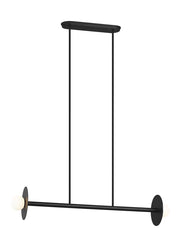 Manila Linear Chandelier Small with a midnight black finish and two opposing bulbs.