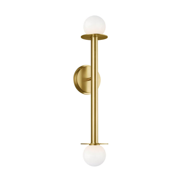 Minimal wall scone with white glass globes and a vertical stem with a burnished brass finish.
