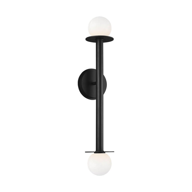 Modern wall sconce with a black vertical stem and double glass globe lamp shades.