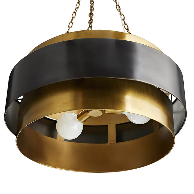 Underside of the Troyes Large Pendant showing the bulbs, round brass frame and dark bronze accent band.