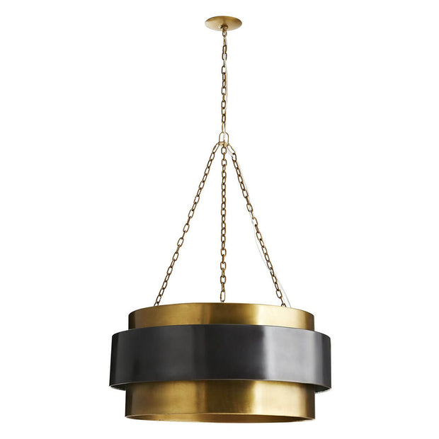 Midcentury modern dining room pendant with a large antique brass frame with a dark bronze accent band.