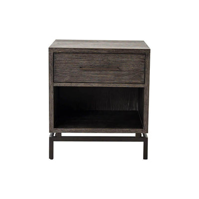 The Nuremberg Nightstand is made of grey-finished oak with a floating iron base, single drawer, and open shelving.