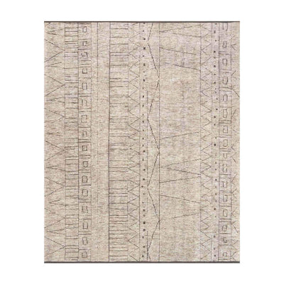 Tallinn Natural / Ash Rug. Bamboo rug in a tribal pattern. Hand knotted, neutral rug.