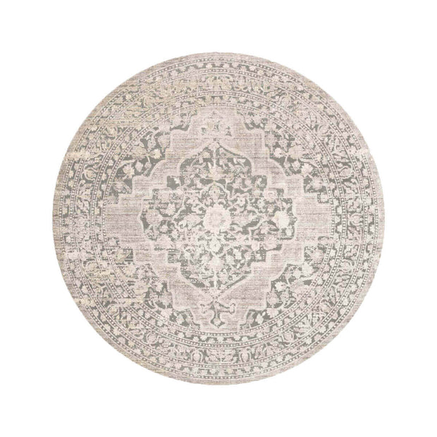 Salina Taupe Round Rug. Neutral round Turkish rug.