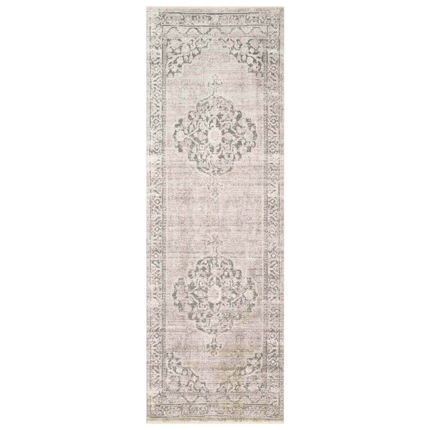 Salina Taupe Runner. Light brown Turkish rug pattern runner.