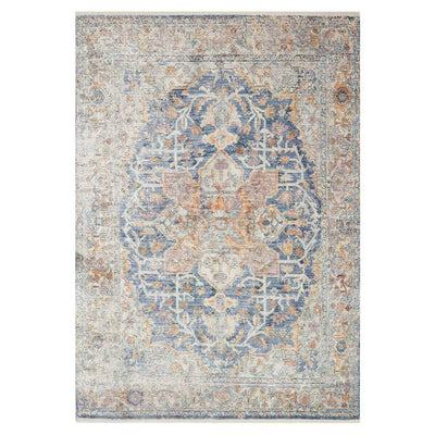 Salina Blue / Multi Rug. Blue, gold, and sand rug. Traditional patterned Turkish rug.