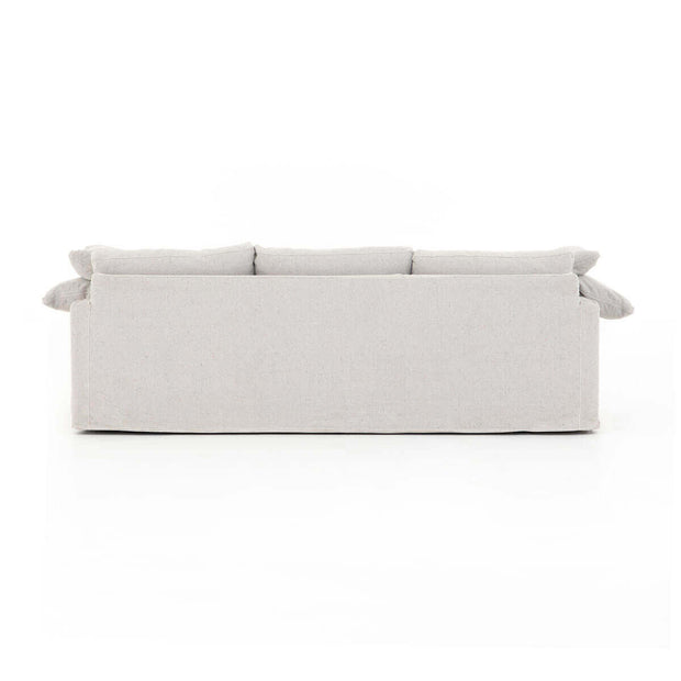 Classic white sofa with linen-blend upholstery.