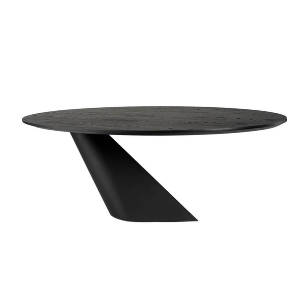 The Ufa Dining Table has an angled base and round tabletop.