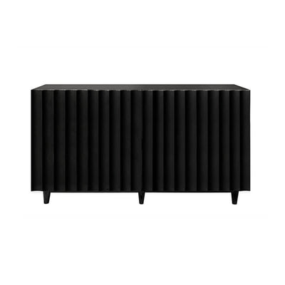 The Baden Sideboard with black lacquer finish, scallop details, and cutouts for easy media storage.