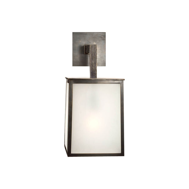 The Ojai Wall Sconce, cubed frame with frosted glass panels and a square backplate.