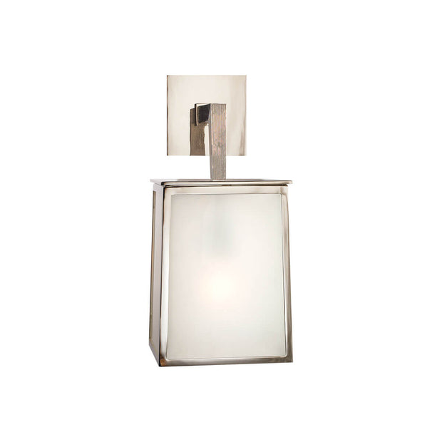 The Ojai Wall Sconce has a polished nickel cubed frame with frosted glass panels and a square backplate.