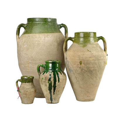 The Izmir Jar is a European olive jar in varying sizes with green glaze.