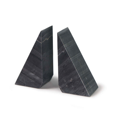Black marble bookends with modern shape.