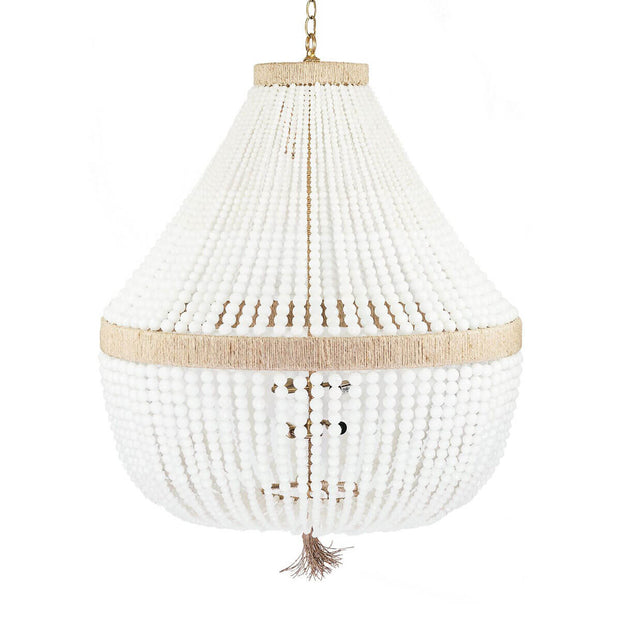 The Latigo Full Chandelier is a statement chandelier with natural hemp accents, brass hardware and milk bead strings.