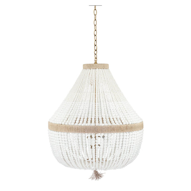 Beaded bohemian chandelier with brass hanger and hemp accents.