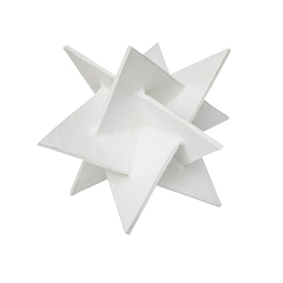 Modern white aluminum sculpture shaped like an origami star.