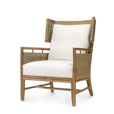The Palolo Lounge Chair has a natural rattan frame with natural abaca wrapped over the frame and upholstered cushions.