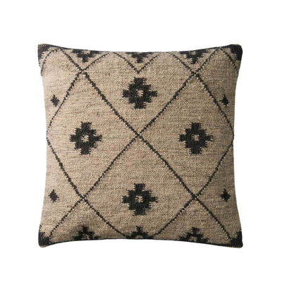 The England Pillow is a brown throw pillow with a dark brown diamond and geometric pattern.