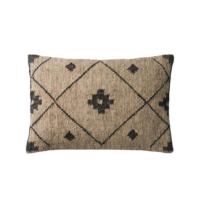 The England Pillow Lumbar is a rectangular, brown throw pillow with a dark brown diamond and geometric pattern.