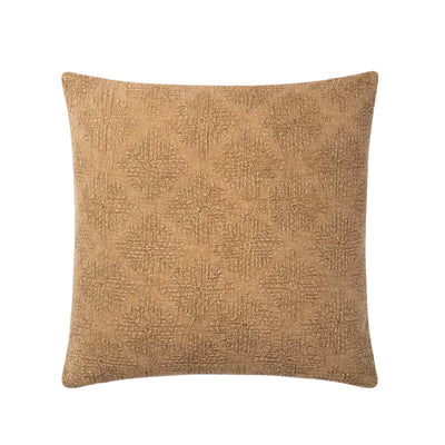 The Namib Pillow - Camel is a camel coloured throw pillow with a woven, tonal pattern on the front.