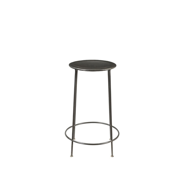 Modern, backless counter stool made from zinc with a texture finish and indented seat.