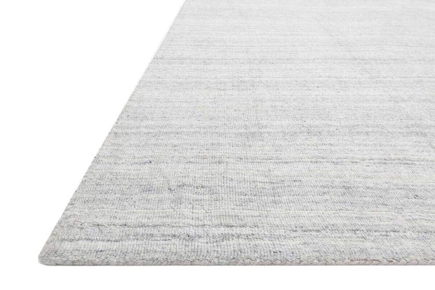Details and colour of the Huntington Fog Rug. Texture of the hand loomed, soft rug.