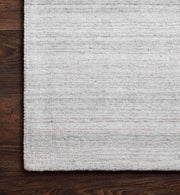 Texture and details of the Huntington Fog Rug. Colour details of the light blue and grey rug. Fog coloured soft rug.