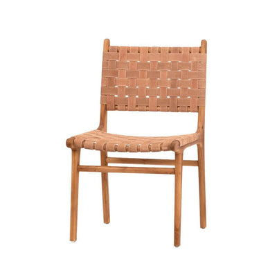 Dining Chair with teak wood frame and a basket weaved leather seat and backrest.