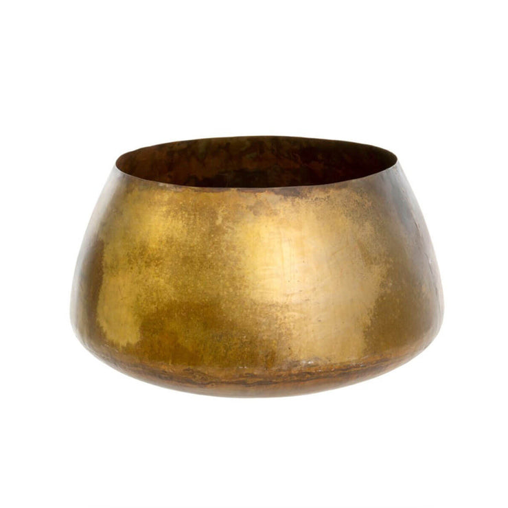 The San Simeon Mega Pot is a handmade, oversized brass pot with an ethnic, modern shape.