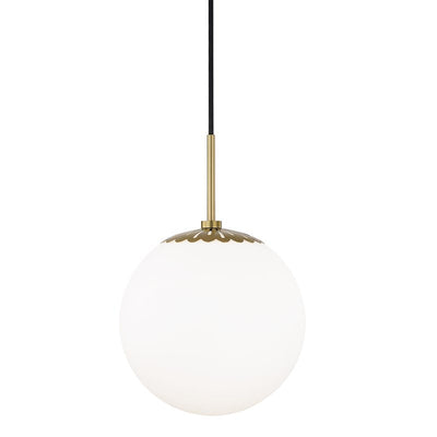 Adelaide Pendant in an aged brass finish. White glass globe pendant light in an aged brass finish.