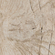 Natural wood grain and texture on the whitewash solid pine table.