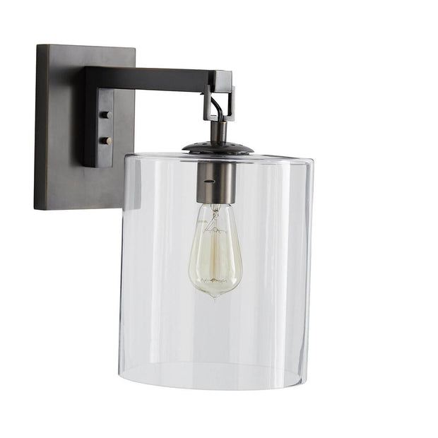 Vintage wall sconce with a glass lampshade.