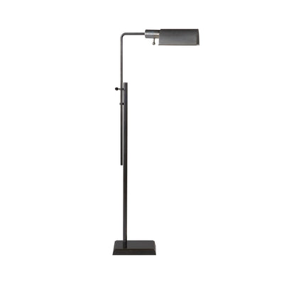 The Pask Pharmacy Floor Lamp has dome-like metal shade in a bronze finish and has adjustable height and a pharmacy lamp look.