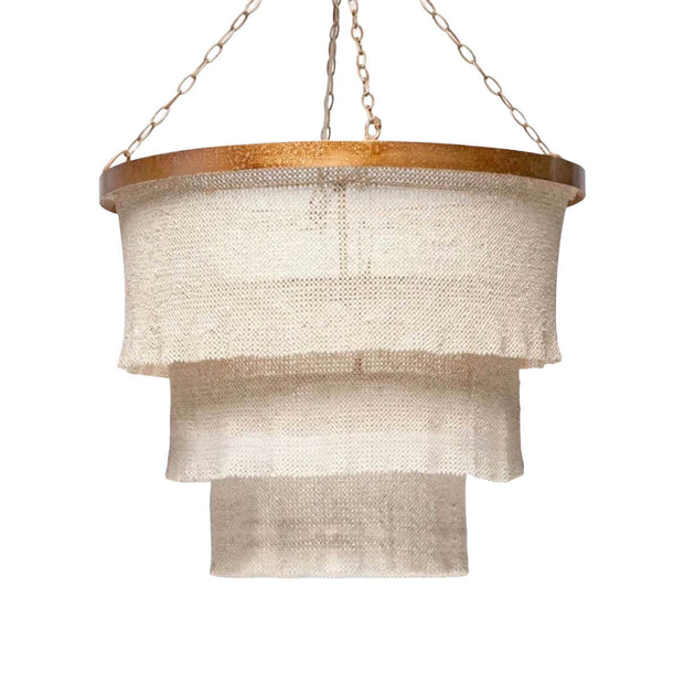 The Sardinia Round Chandelier is woven using natural coco beads in a stunning three tiered chandelier with a glamours ruffled edge finish.