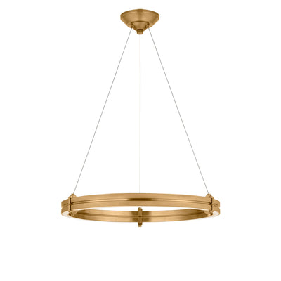 The Paxton Ring Chandelier has a thick, natural brass ring light with three thin wire attachments and a modern look.