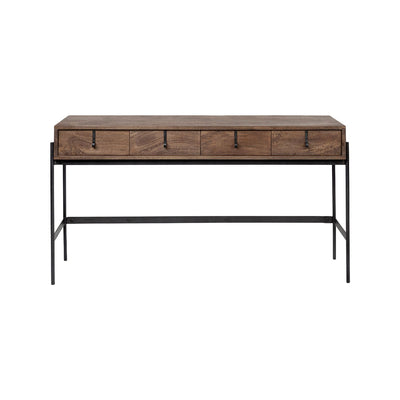 Front view of Penn Console Table with mango wood and matte-black iron frame and hardware. Pull-out drawers offers ample space for everyday items.