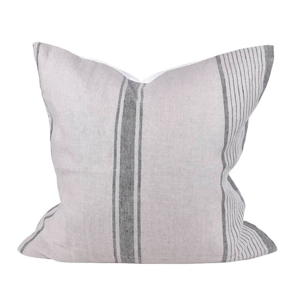 The Strahan Pillow is a grey striped linen throw pillow with a canvas back.