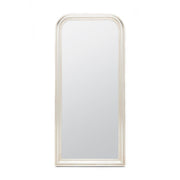 Silver leaf full body mirror with a rounded top and thick frame.