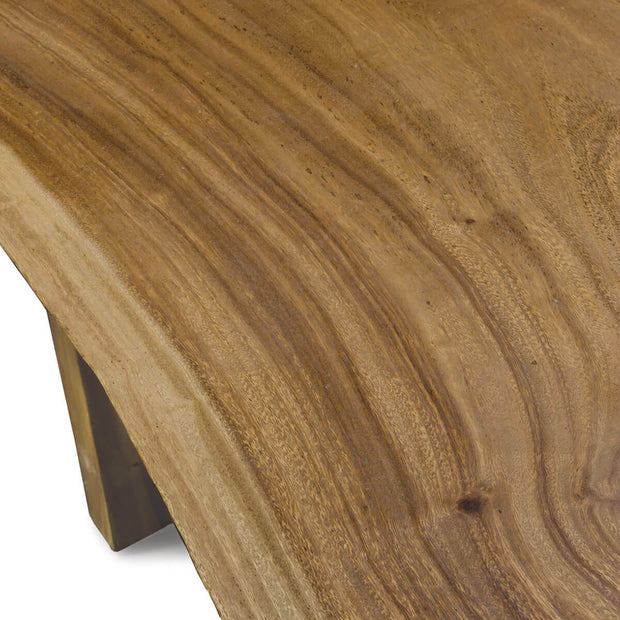 The wood grain and knot details on the reclaimed wood console table.