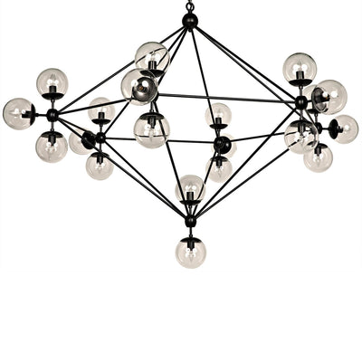 Turin Chandelier with linear arms and glass globes in a black finish.