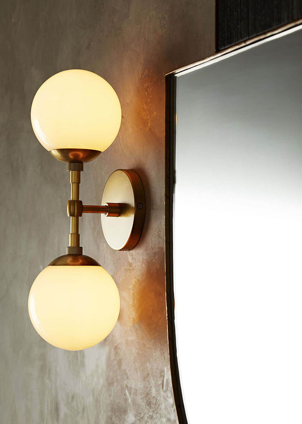 Modern double wall sconce in a bathroom.