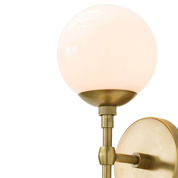 Frosted glass globe lamp shade on the Navala Wall Sconce.