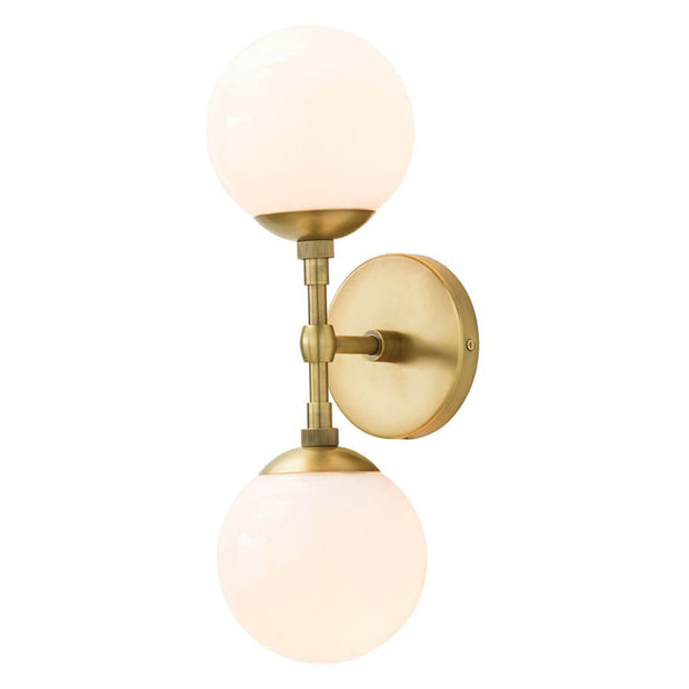 Modern wall sconce with a reconfigurable arm and frosted glass lamp shades and an antique brass finish.