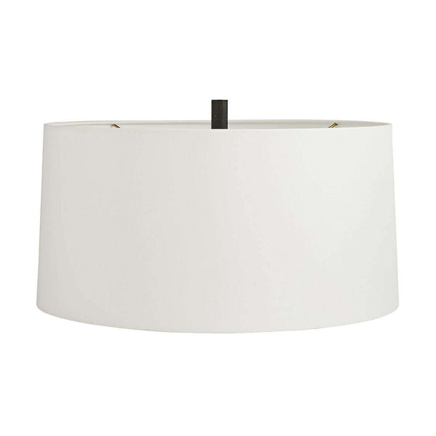 Off-white linen shade with a white cotton lining on the Karlin Table Lamp.