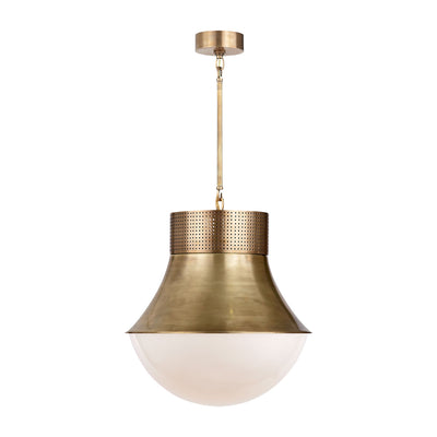 Large decorative pendant light with a modern silhouette and antique brass metal finish with white glass.
