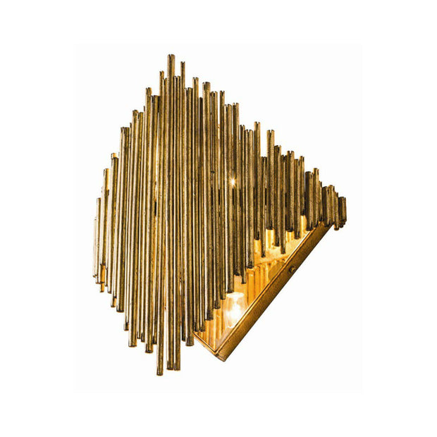 The St. Albans Wall Sconce with a gold-leaf finish and a sculptural glam look.