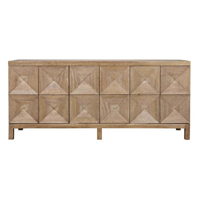 The Saliba Sideboard has a carved diamond pattern and lots of storage space.
